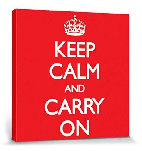 1art1 Motivación - Keep Calm and Carry On, Red Cuadro, Lienzo Montado sobre Bastidor (40 x 40cm)