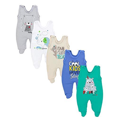 TupTam Baby Unisex Strampler mit Aufdruck Spruch 5er Pack, Farbe: Junge 4, Größe: 74