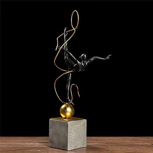 Resina Gimnasia Abstracta Atleta Estatua Escultura Retro Bronce Bailarina Estatuilla Artesanía Mobiliario para el hogar D & Eacute; Cor Casa Sala de Estar Decoración Escritorio de Oficina Es