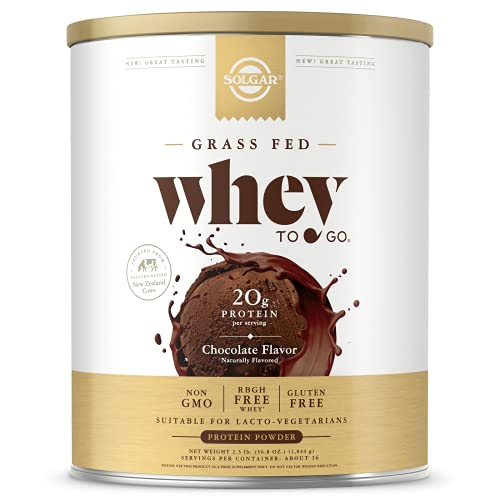 Solgar Grass Fed Whey to Go Protein Powder Chocolate, 2.3 lb - 20g of Grass-Fed Protein from New Zealand cows - Great Tasting & Mixes Easily - Supports Strength & Recovery - Non-GMO, 36 servings