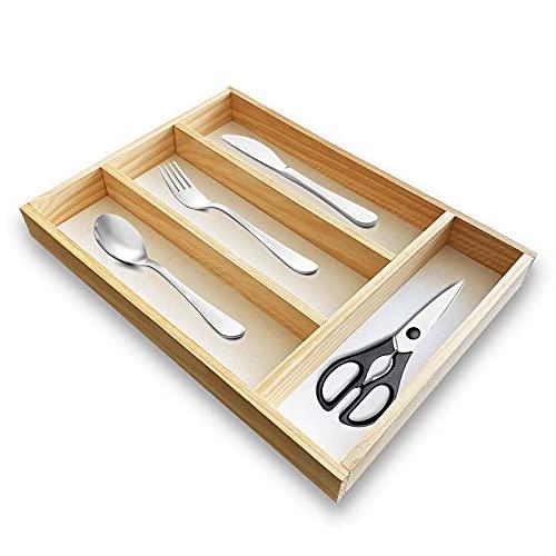Organizador cubiertos para cajon de madera, cubertero para cajon, bandeja de cubiertos compacta para utensilios de cocina 32x22 cm