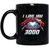N\A Glowing Heart Ironman Ti Amo 3000 Tazza da caffè - Regalo Nero per Amico Marito Moglie Madre Padre Marito Figlio Figlia nel Giorno della Laurea Natale Compleanno Ringraziamento Pasqua