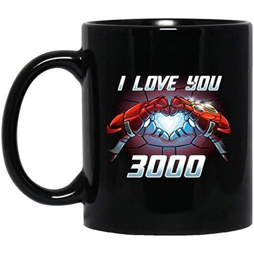 Taza de café Ironman I Love You 3000 con corazón resplandeciente, 11 oz, color negro, regalo para amigo, esposo, esposa, madre, padre, esposo, hijo, hija en el día de graduación, cumpleaños de Navidad