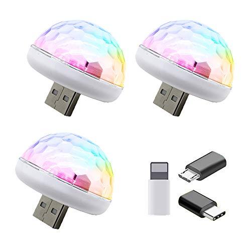 3 Stück USB Discokugel Licht, 7 Farben LED Disco Licht Sound aktiviert 4W RGB Kleiner Zauberball für Kinder Geburtstag, Familientreffen, Weihnachtsfeier, Karaoke, Hochzeitsdekoration