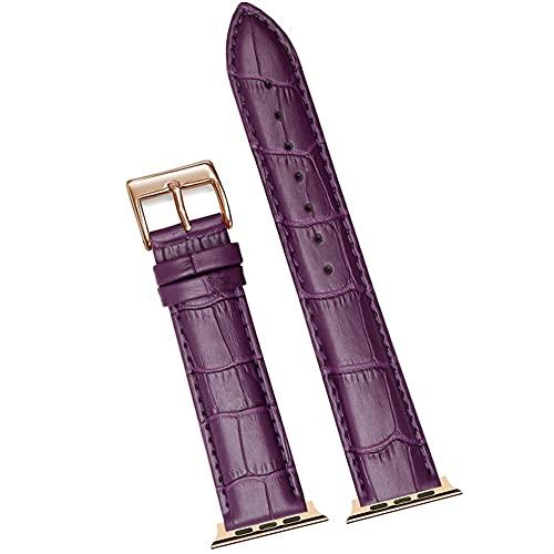 Correa de Cuero de Lujo, Adecuada para Varias Correas de Reloj de 38 mm 40 mm 42 mm 44mm de Ancho (Band Color : Purple 2, Band Width : 42MM and 44MM)