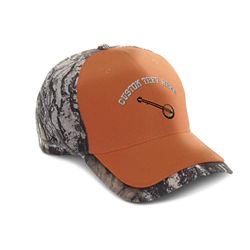 Custom Camo Baseball Cap Music Instrument Banjo Embroidery Cotton Hats for Men & Women Strap Closure Orange Personalized Text Here