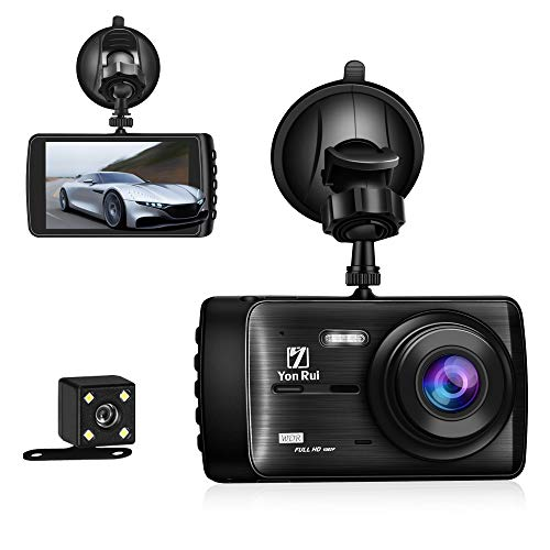Dash Cam Dashboard Camera Recorder with Rear Camera-4' Full HD 1080P Car DVR Dashboard Camera with G-Sensor, Loop Recording, WDR, Parking Guard [Upgraded Version]