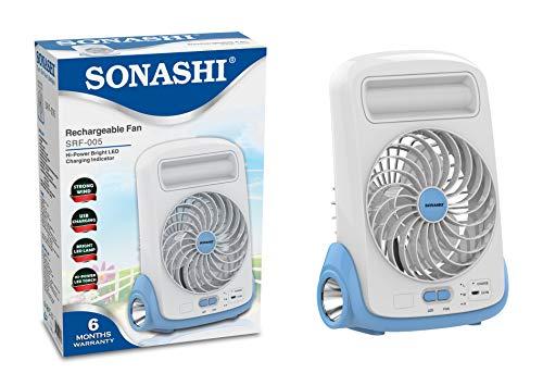Sonashi 5 Inch Rechargeable Battery Table Fan...