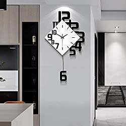 Fleble Big Wall Clock Pendulum Battery Operated Wooden Creative Art Design Pendulum Hanging Clocks Home Decoration for Living Room Bedroom Kitchen Office 31inch