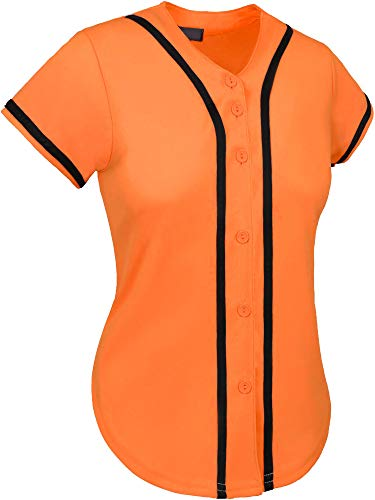 Hat and Beyond Womens Baseball Button Down Athletic Tee Short Sleeve Softball Jersey Active Plain Sport T Shirt (Large, 3up01 Orange/Black)