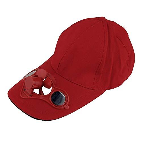 Warmwin Mini Luftkühlventilator Angeln Sommersport Outdoor Hut Hut mit Solar Sonne Kühlung Umwälzventilator Energiesparventilator red_Russian_Federation