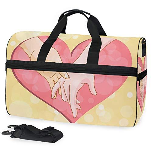 Mano Corazón Bolsa de Gimnasia de Natación Deportiva con Compartimento para Zapatos Bolsas de Lona Cruzadas Bolso para Viajes Mujeres Niñas