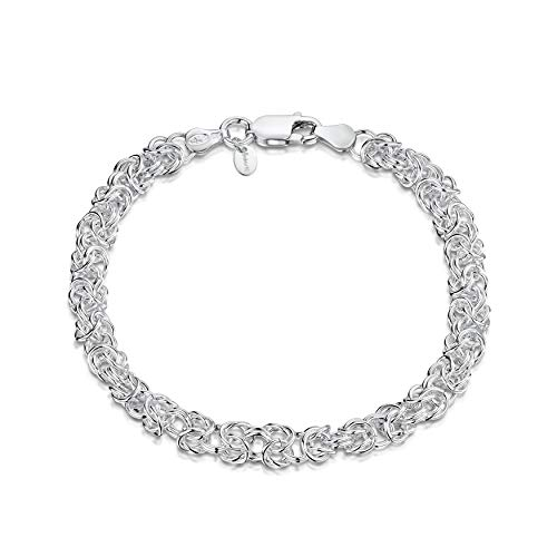 Amberta Unisex's 925 Sterling Silver Byzantine Chain Bracelet: 19 cm / 7.5 inch - Rounded Design