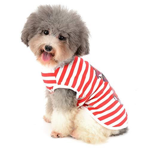 Zunea Hunde T-Shirt für Kleine Hunde Gestreift Weiche Baumwolle Weste Sommer Tanktop Welpen Kleidung Haustier Katzen Tee Shirt Chihuahua Bekleidung für Jungen und Mädchen Rot XL