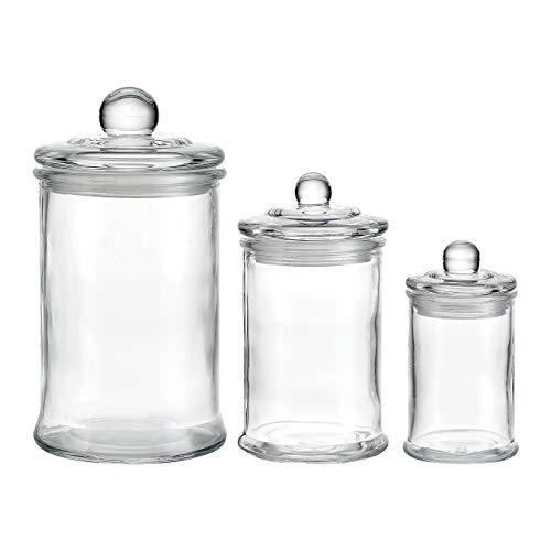 KMwares 3PCS Premium Quality Glass Apothecary Jars/Bathroom Storage/Organizer Canisters for Cotton Balls/Swabs, Makeup Sponges