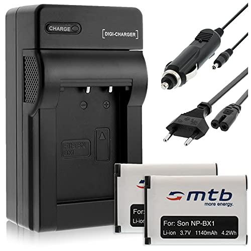 2 Akkus + Ladegerät (KFZ, Netz) kompatibel mit Sony NP-BX1 / HDR-AS50, AS200V, AS300 … / DSC-HX400, RX100 IV. / PJ410 / FDR-X1000V, X3000R (s. Liste)