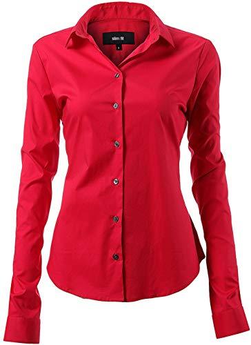 INFLATION Damen Hemd mit Knöpfen Baumwolle Bluse Langarmshirt Figurbetonte Hemdbluse Business Oberteil Arbeithemden Rot 46/20