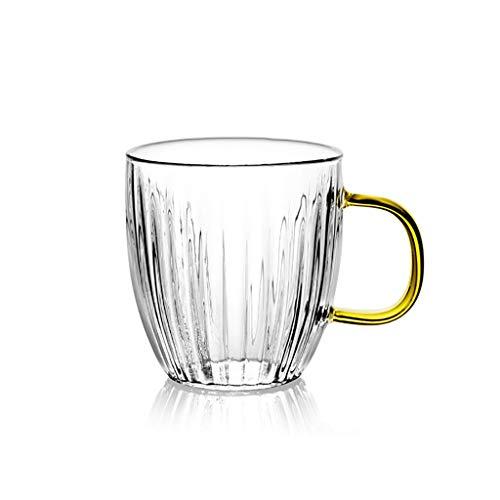 ZZL Exquisita taza de café de cristal con asa, resistente al calor para oficina, leche de cacao de 400 ml (color: transparente, cantidad: 1)