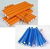 Papilotten - Flex-Wickler Set + Kosmetiktasche - Menge u. Größe nach Wahl (von deutschem Friseurbedarf-Fachhändler!) (orange+blau 14+17 mm - 24 Stck. + Tasche)