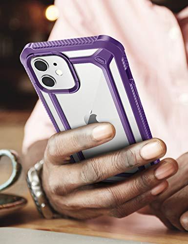 SUPCASEiPhone12/iPhone12Pro6.1インチケース2020背面クリア液晶保護フレーム付き衝撃吸収カメラ保護米軍MIL規格ワイヤレス充電アイフォン保護カバー耐衝撃紫EXOProシリーズ