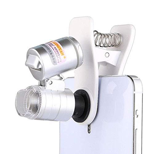 Mnjin Vidrio portátil de Mano 60x con luz LED Ultravioleta Identificación de joyería Microscopio para teléfono móvil Lupa iluminada portátil de Mano