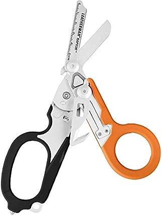 Leatherman Raptor - Tijeras médicas plegables con cortador de cinturón y rompedor de vidrio, manijas azules con funda de utilidad, hecha en los EE.UU, en negro naranja
