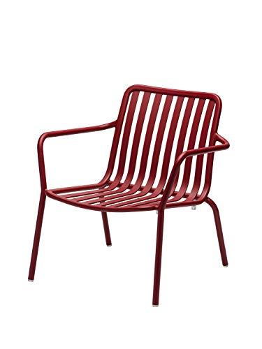CAIRO Designer Gartensessel Casablanca Gartenstuhl - Für Balkon und Garten, Outdoor Sessel modern, Stuhl mit Lehne rot, BxHxT 67,7x73,2x64,8 cm