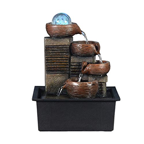 JFDKDH 3-Tier Indoor Tabletop Water Fountain - Table-Top Oriental Water Feature with LED Lights Portable Zen Meditation Waterfall Decoration with Pump & Power Adapter (Color : D)