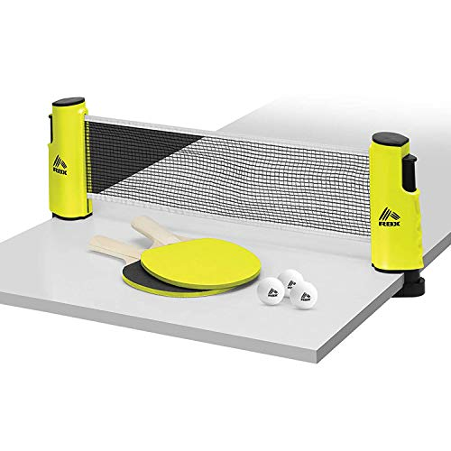 RBX OnTheGo Ping Pong Travel Set with Telescopic Table Tennis Net 2 Paddles 3 Balls