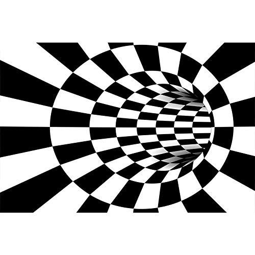 Yumanluo Alfombra mullida,Alfombra Visual en Blanco y Negro, Sala de Estar 3D vortex-3D9_120 * 160 cm,Adecuado para salón Dormitorio baño sofá Silla cojín