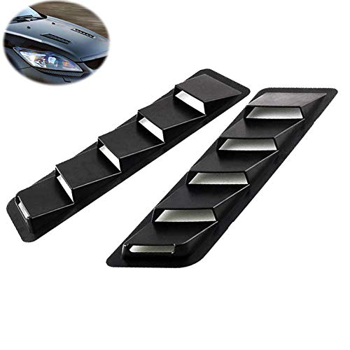 Car Hood Vent Scoop Kit Universal Cold Air Flow Intake Fitment Louvers Cooling Intakes Auto Hoods Vents Bonnet Cover (Black)