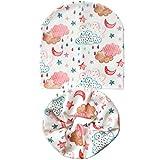 XCLWL Invierno Sombrero De Algodón para Niños Niños Niñas Sombrero Conjunto De Bufanda Crochet Sombrero De Bebé Gorros Tejidos para Niños BebéNubes De LluviaApto para Niños De