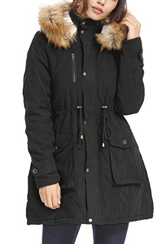 kooosin Womens Thickened Parka Coat with Removable Fur Hood Warm Coats Parkas with Faux Fur Jackets(088B-XXXL) Black