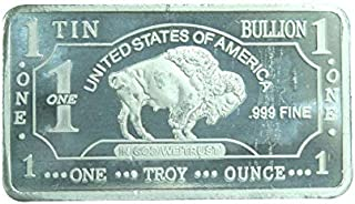1 oz One Troy Ounce USA American Buffalo .999 Fine Tin Bullion Bar Sn Element