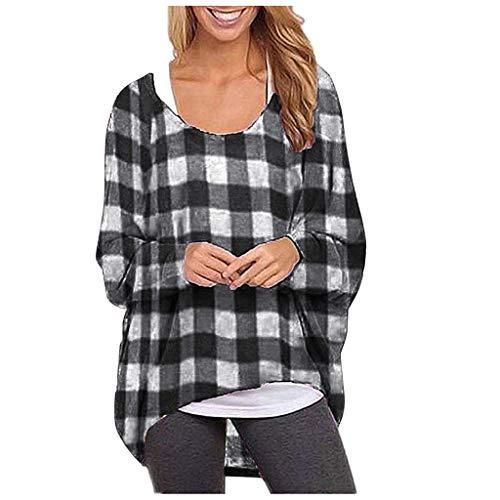 TEFIIR Frauen Plaid Pullover T-Shirt Casual Fledermaus Ärmel Hoodies Langarm Sweatshirt mit unregelmäßigem Saum Oberteile Winter Warm Lose Tops