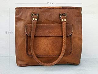 Pascado Womens genuine leather top handle tote purse bag 15 inch with  zipper Tan color 69359709c8946