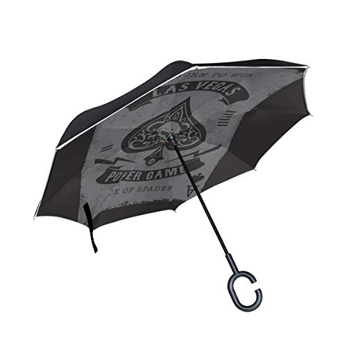 Doppellagige umgekehrte Klappschirme Kompaktes Skelett aus Spaten Trump im Poker Winddichter Umkehrschirm Regenschirm Ausklappbarer winddichter UV-Schutz für Regen mit C-förmigem Griff