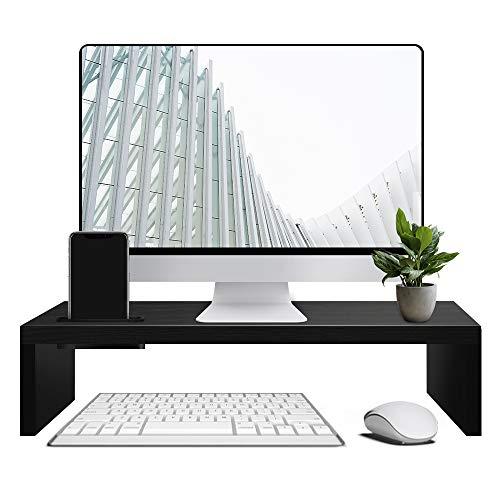 sumgott Monitorständer Bildschirmständer aus Holz für Monitor Laptop Fernsher,Laptop Ständer,Ergonomischer Monitorständer,W415mm×D235mm×H100mm schwarz