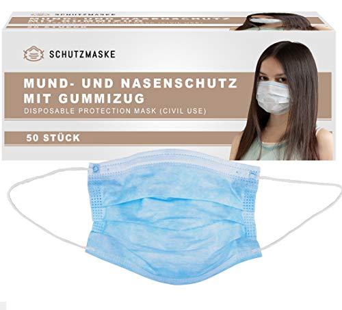 Schutzmaske.net - 3-Lagiger Mundschutz - 50 Stück - CE Zertifizert