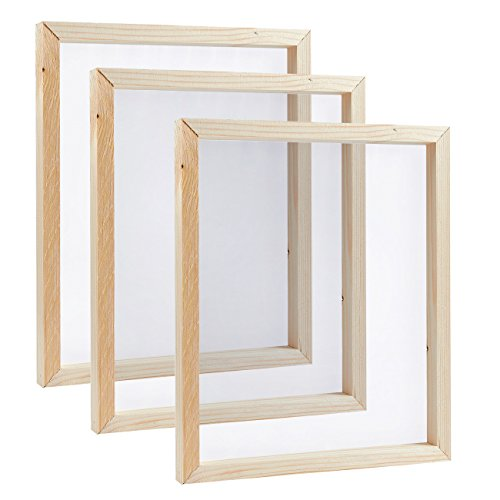 Screen Printing Frame, Mesh with Natural Wood (10 x 12 x 0.7 in, 3 Pack)