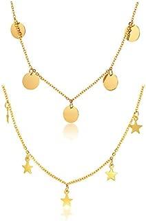 2 UNIDS Oro Plateado de Acero Inoxidable Minimal Dangly Coin Star Colgante Disco Redondo Gargantilla Collar de Cadena de Clavícula para Mujeres Chica