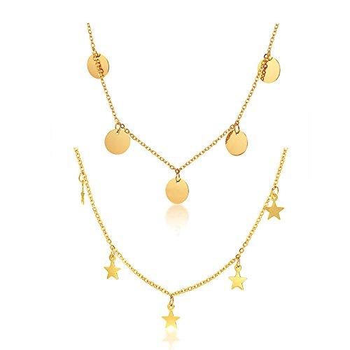 VNOX 2 UNIDS Oro Plateado de Acero Inoxidable Minimal Dangly Coin Star Colgante Disco Redondo Gargantilla Collar de Cadena de Clavícula para Mujeres Chica