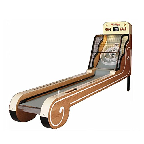 Skee Ball Arcade Ball Game, Centennial Alley with Authentic Flip-Style Scoring Display, Pull Handle Activation Lever and Oak Ext