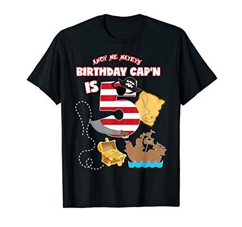 Piraten Geburtstag Shirt für Jungen Alter 5Fünf Pirat Kostüm