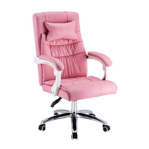 Executive Office Chair, Ergonomic Conference Work Chair Padded Recline Computer PC Swivel Desk Chair with Adjustable Task Gas lift, Pu leather (Pink)