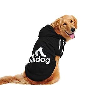 Idepet Sweat à capuche pour chiens Golden/Retriever/Labrador avec inscription «Adidog» - Grande taille - Pour printemps ou automne