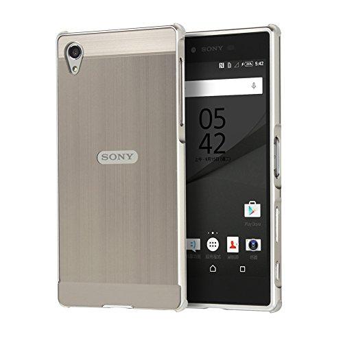 WIWJ Sony Xperia Z5 Premium Spiegel Hülle,Xperia Z5 Premium Mirror Cover, Handyhülle Spiegel Metall Case Cover 2 in 1 Aluminium Rahmen PC Bumper Case Schutzhülle für Sony Xperia Z5 Premium-Silbergrau