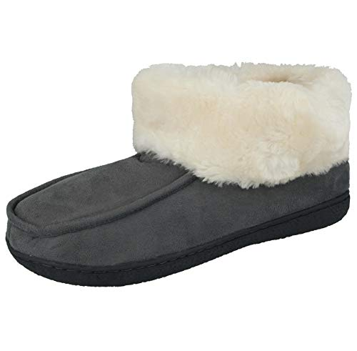 Cushion Walk Ladies Tartan Faux Suede Sheepskin Fur Trim Lined Slipper Bootie Boots Size 4-8 (UK 7/ EU 40, Grey)