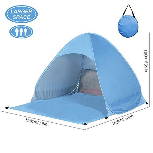 Tenda da Campeggio Resistente all'acqua 2-3 Persone con Borsa come Zaino Apertura Istantanea Pop-up per Pensilina Ideale per Campeggio Familiare, Escursionismo, Uso Esterno (Blu)