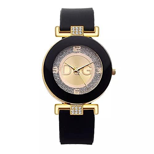 Relojes para Mujer 2021 Nueva Marca Moda de Lujo Cuarzies de Cuarzo Silicone Matte Wristwatch(Negro)